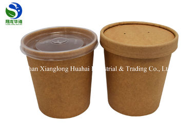 Disposable packaged kraft cardboard paper soup cup takeaway paper soup bucket