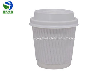 China White Brown Insulated 12 Oz Paper Cup , Ripple Wrap Paper Coffee Cups factory