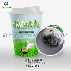 China Company Logo Printed Disposable Paper Cup For Hot Beverage , Instant Green Tea Cup distributor