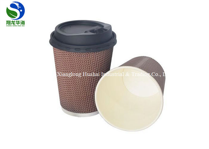 Hot 12 Oz Ripple Wall Paper Cup Disposable Insulated Brown Corrugated Type